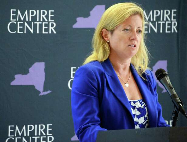 Heather Briccetti of The Business Council of NYSspeaks at a press conference calling for a permanent tax cap Tuesday May 19, 2015 in Albany, NY.  (John Carl D'Annibale / Times Union) Photo: John Carl D'Annibale / 00031900A