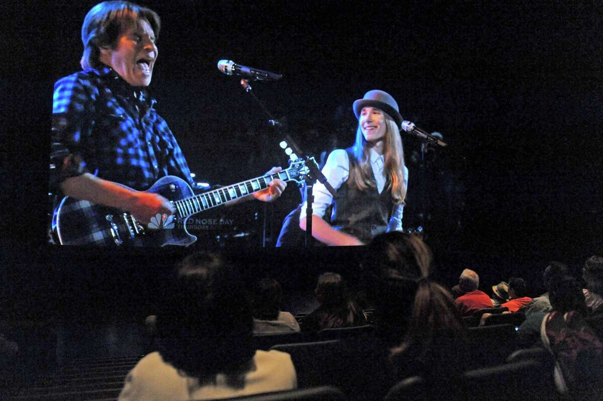 Sawyer Fredricks performs with John Fogerty as local fans watch The Voice finals during a Sawyer Fredericks viewing party co-sponsored by the Times Union and Proctors at the Proctors GE Theatre on Tuesday May 19, 2015 in Schenectady, N.Y. (Michael P. Farrell/Times Union)