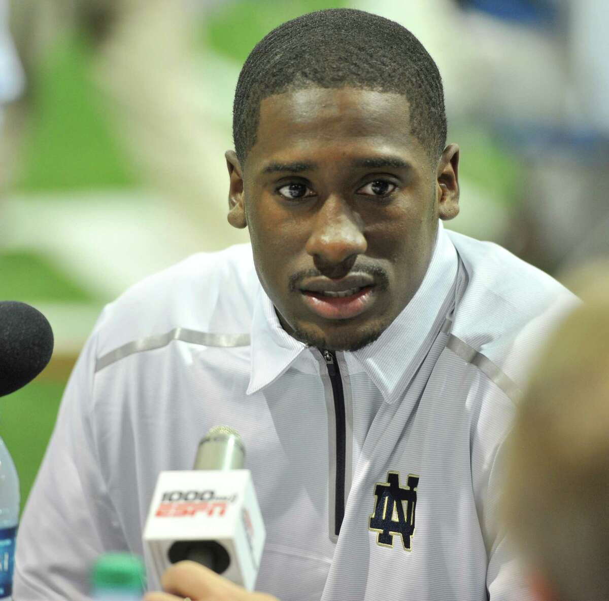 FILE - In this Aug. 19, 2014, file photo, Notre Dame quarterback Everett Golson answers a question during media day for the NCAA college football team in South Bend, Ind. Golson has announced he is leaving Notre Dame and will use his final season of eligibility elsewhere after graduating later this month. Golson issued a statement to Fox Sports on Thursday, May 7, 2015, saying he has decided to transfer. (AP Photo/Joe Raymond, File)
