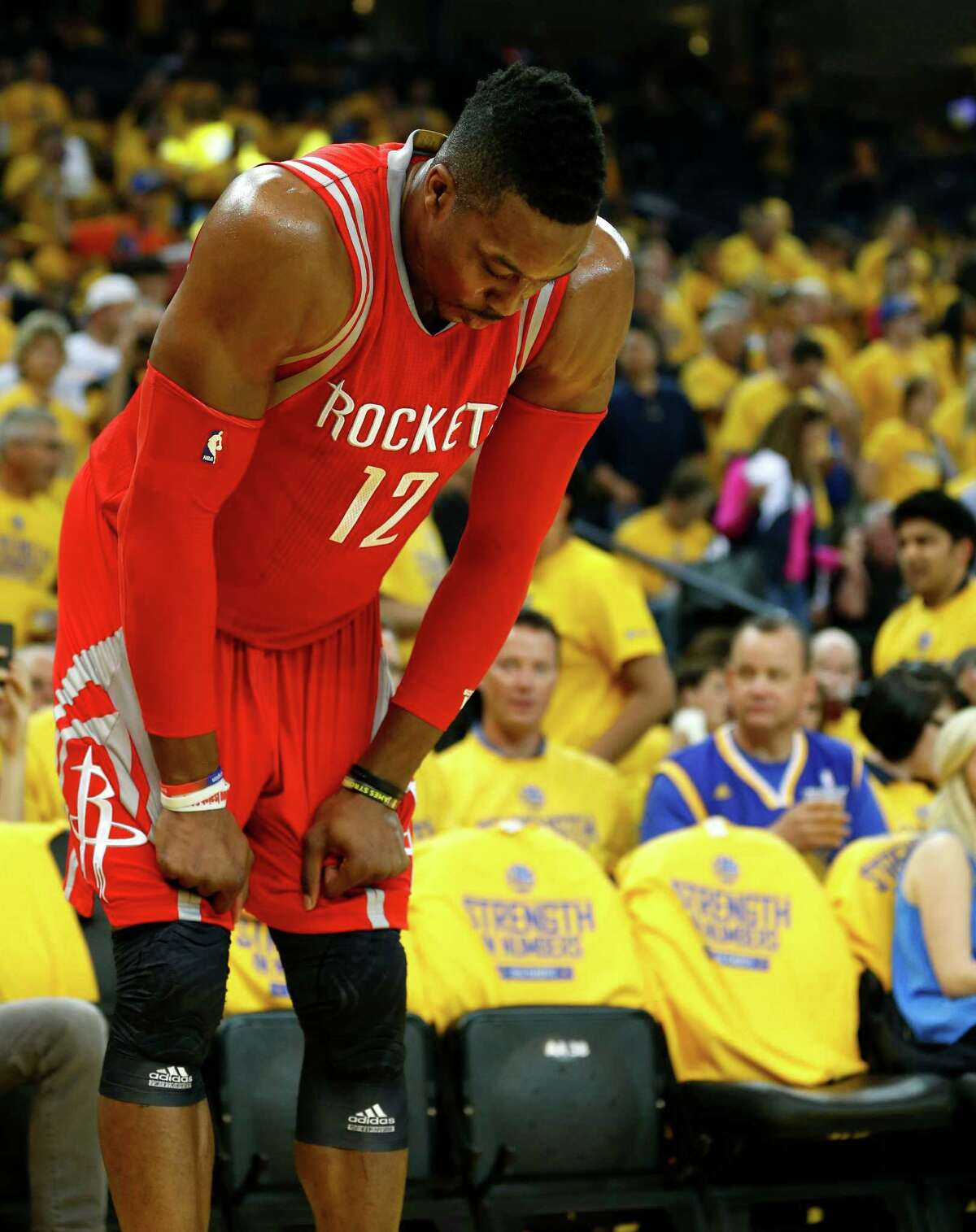 Rockets center Dwight Howard was limited to seven points Tuesday night after suffering a left knee bruise.