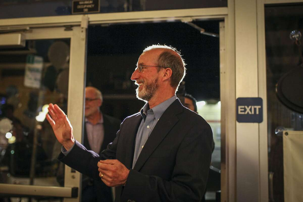 Steve Glazer who is running for a East Bay State Senate seat enters Europa Hofbraus in Orinda where his supporters were waiting on May 19th 2015.