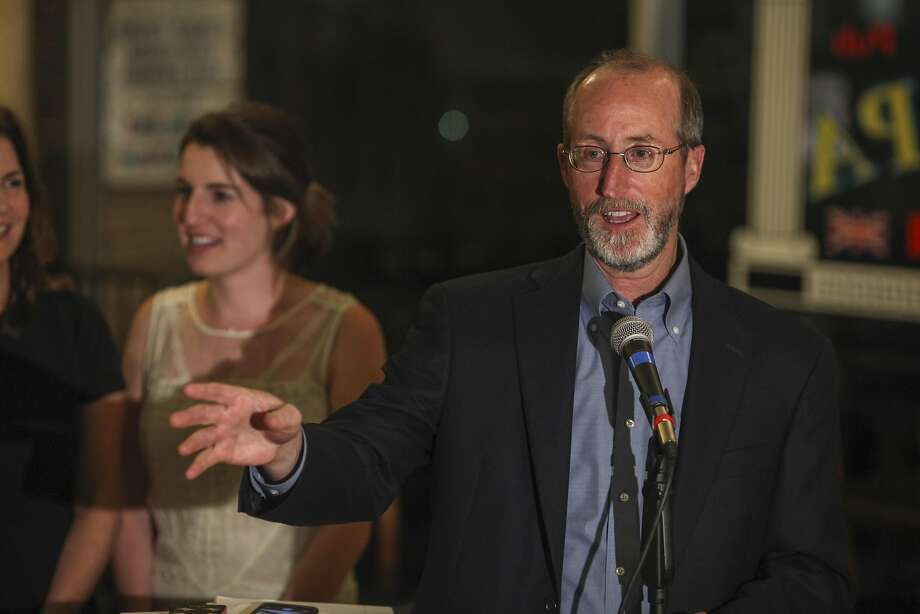 Steve Glazer who ran for East Bay State Senate seat gives a celebratory speech at Europa Hofbraus in Orinda after finding out that he won the election on May 19th 2015. Photo: Sam Wolson, Special To The Chronicle