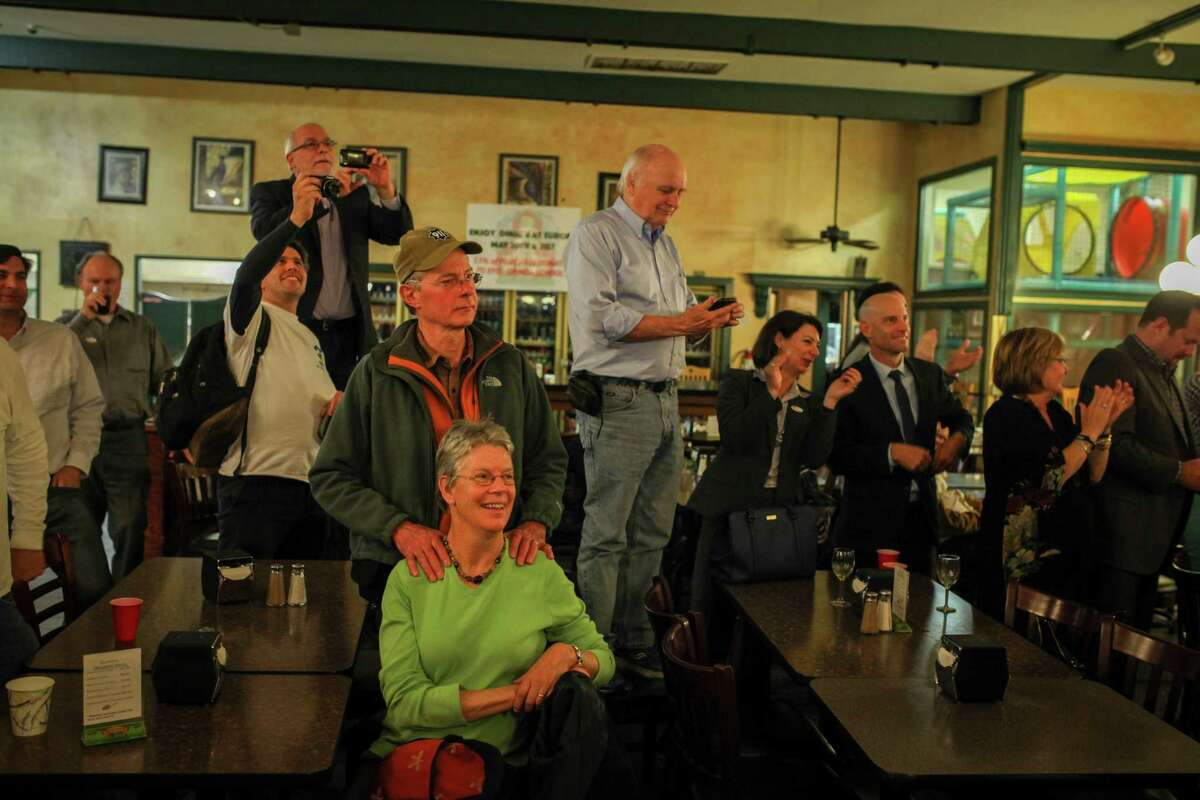 Supporters of Steve Glazer who ran for East Bay State Senate seat, listen while Glazer gives a celebratory speech at Europa Hofbraus in Orinda after finding out that he won the election on May 19th 2015.