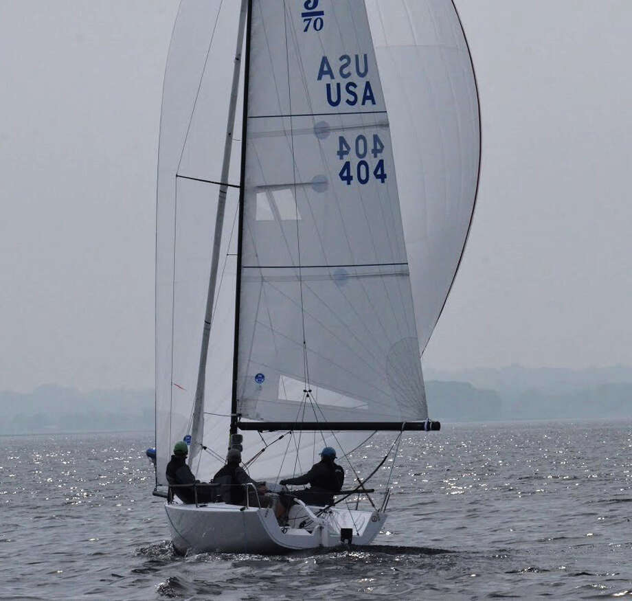 Westport's Bill Walker and Allan Stern finished 12th this past weekend in the 2015 OneDesign regatta at Cedar Point Yacht Club. Photo: Contributed Photo / Westport News Contributed