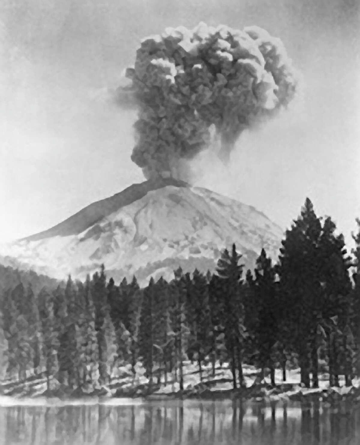 Mount Lassen erupted in 1915, showering ash for 200 miles.