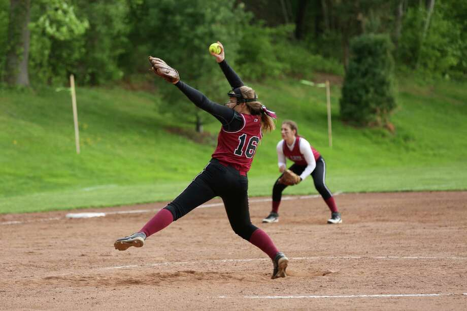 Ruschil winds up to throw a pitch in the Western New England title game. The senior pitched a comeplete game, one-hit shutout in the win. Photo: Desiree Smock / New Canaan News