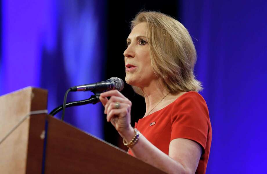 Republican presidential candidate Carly Fiorina speaks during the Iowa Republican Party's Lincoln Dinner, Saturday, May 16, 2015, in Des Moines, Iowa. (AP Photo/Charlie Neibergall) Photo: Charlie Neibergall, Associated Press / AP