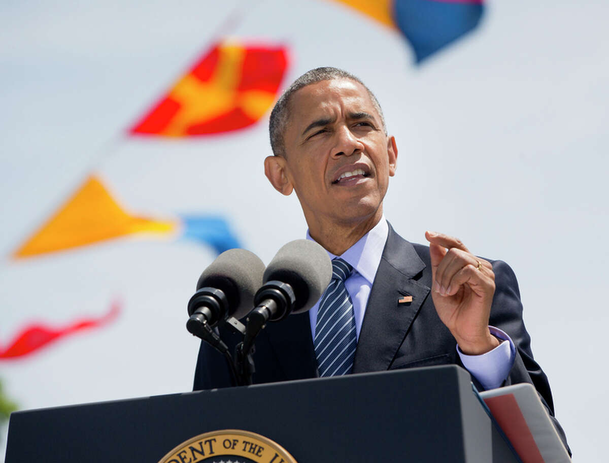 President Obama speaks to graduates at the U.S. Coast Guard Academy in New London, Conn.