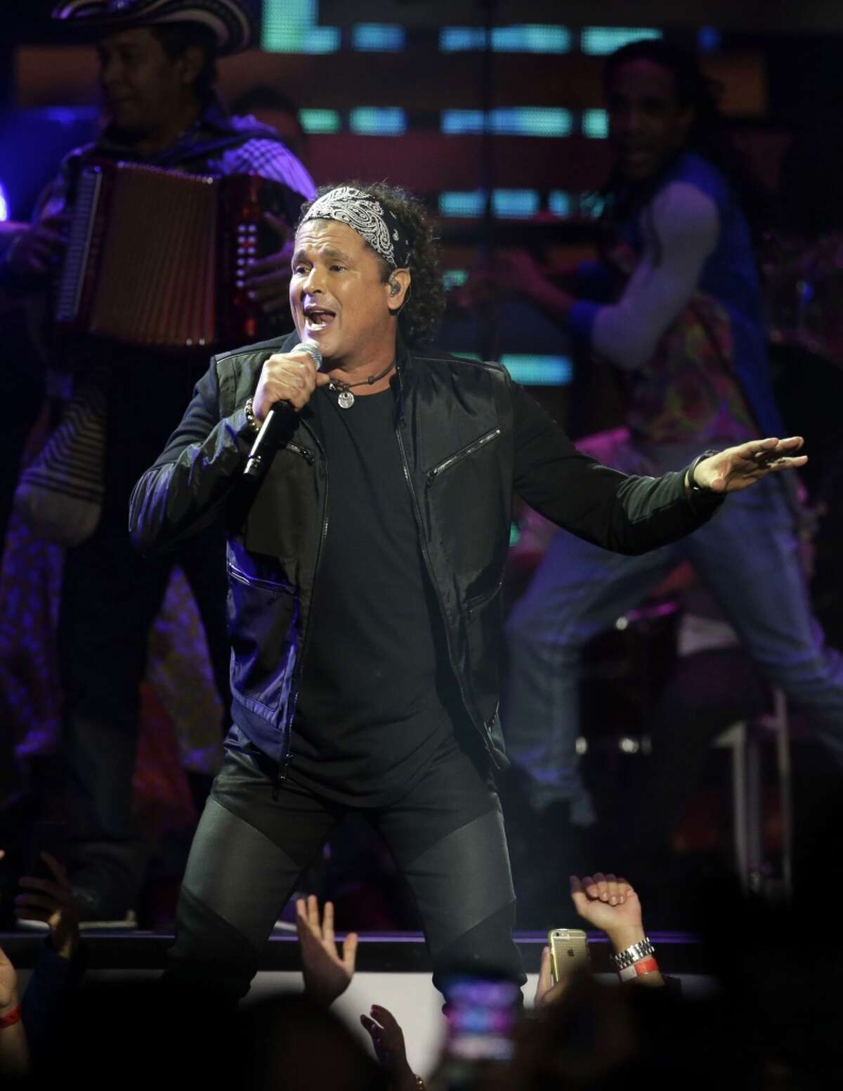 Carlos Vives at the Toyota Center in Houston, whe sang with Marc Anthony.