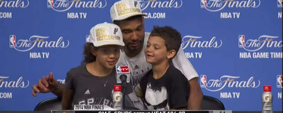 Tim Duncan, daughter Sydney and son Draven, 2014 NBA Finals Photo-8017357.110161 - Houston Chronicle