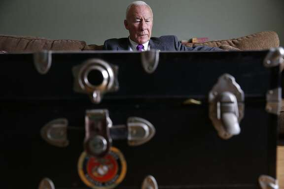 At home, Marine Corp Major General Mike Myatt prepares to investigate to contents of his footlocker for the first time since he retired 20 years ago on Monday May 20, 2015 in san Francisco, Calif.