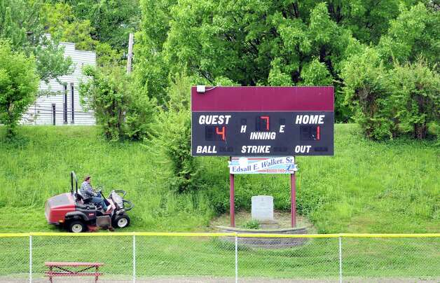 The scoreboard on Wednesday, May 20, 2015, at Bleecker Stadium in Albany, N.Y. (Cindy Schultz / Times Union) Photo: Cindy Schultz / 00031931A