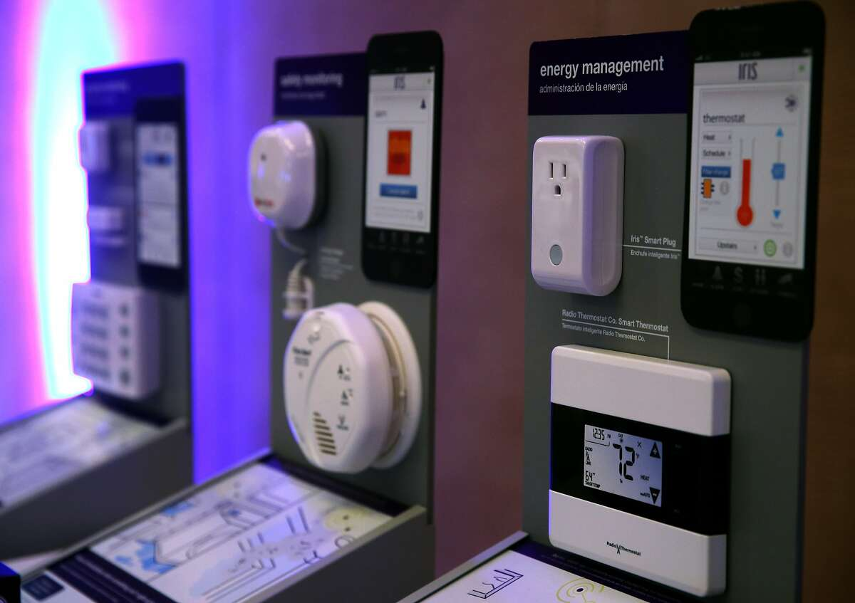 Modules for the Iris smart home control system are displayed at the Connections conference in Burlingame, Calif. on Wednesday, May 20, 2015.