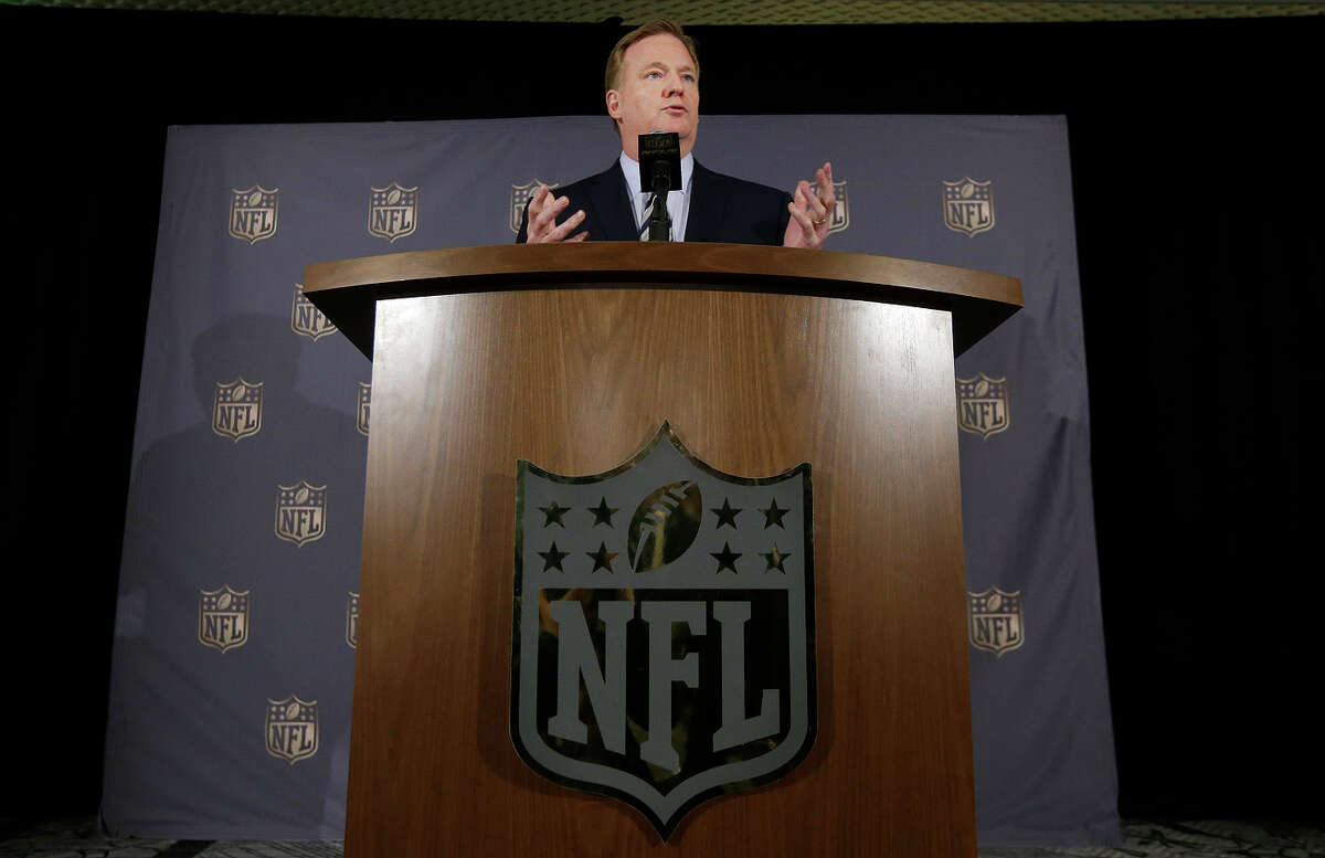 NFL Commissioner Roger Goodell speaks to reporters during the NFL's Spring Meetings held in S.F. Goodell says he's awaiting word from Oakland on its proposal for a Raiders stadium.
