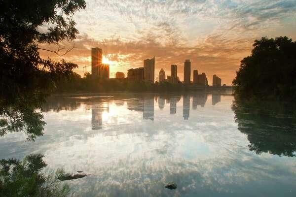 Texas Capitol Skyline from Zilker Park. Austin, Texas.