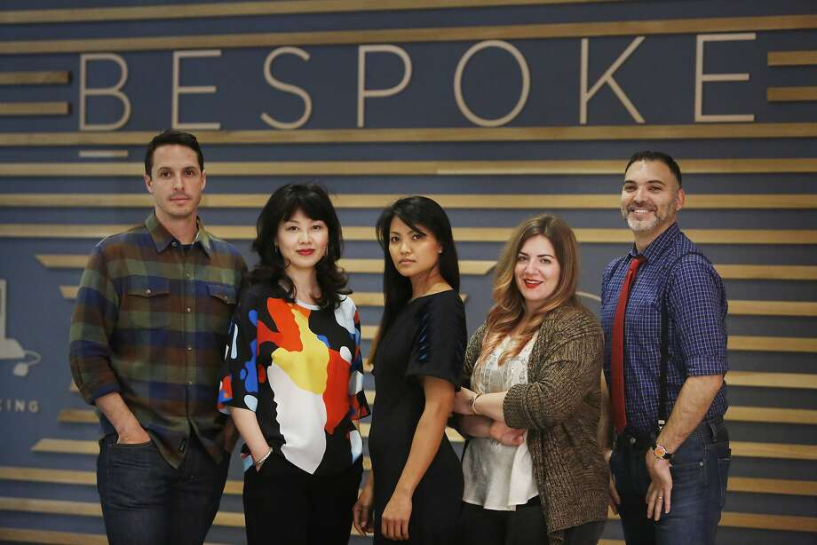 Scott Ellison, Pladra designer; Jessie Liu, Simple Pair designer; Carlos, Kajan Cake designer; Stephanie Bodnar, Evgenia designer, and Peter Papas, Blade + Blue designer pose for a portrait at Bespoke at Westfield San Francisco Centre, where they will open a pop-up shop May 29. Photo: Lea Suzuki, The Chronicle