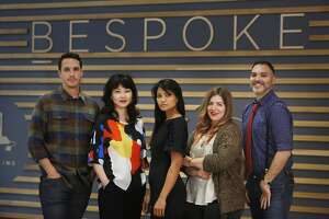 Scott Ellison, Pladra designer; Jessie Liu, Simple Pair  designer; Carlos, Kajan Cake designer; Stephanie Bodnar, Evgenia designer,  and Peter Papas, Blade + Blue designer  poses for a portrait together in front of signage for Bespoke at Westfield San Francisco Centre on Thursday, May 14, 2015 in San Francisco, Calif.