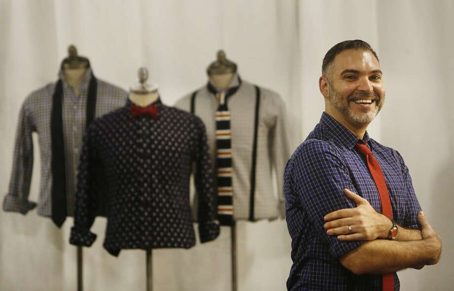 "Peter Papas, Blade + Blue designer, is seen with some of his designs in the new ""white box"" space at Westfield San Francisco Centre on Thursday, May 14, 2015 in San Francisco, Calif. Photo: Lea Suzuki, The Chronicle"