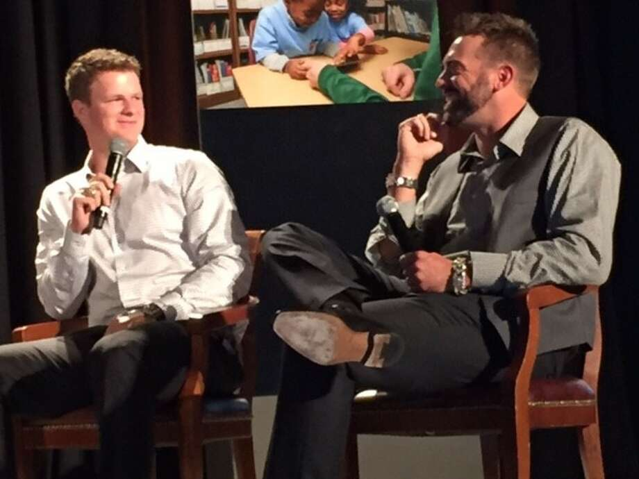 Matt Cain (left) and Jeremy Affeldt in conversation at the San Francisco RBI dinner.