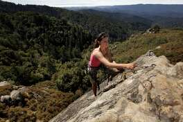Santa Clara/Santa Cruz region, No. 8: Castle Rock State Park . . . that's Holly Tate climbing Goat Rock