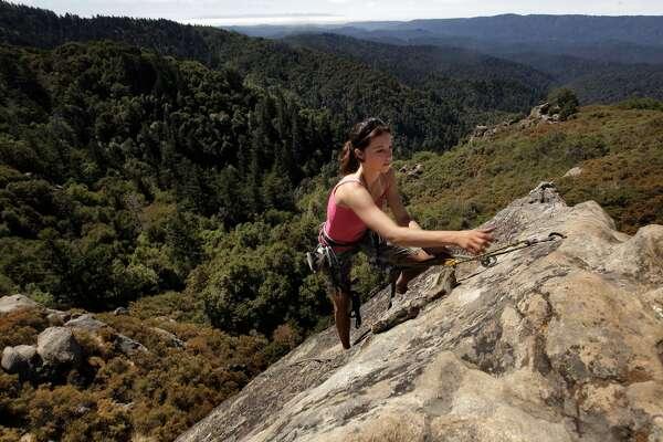 Santa Clara/Santa Cruz region, No. 8: Castle Rock State Park . . . that's Holly Tate climbing Goat Rock