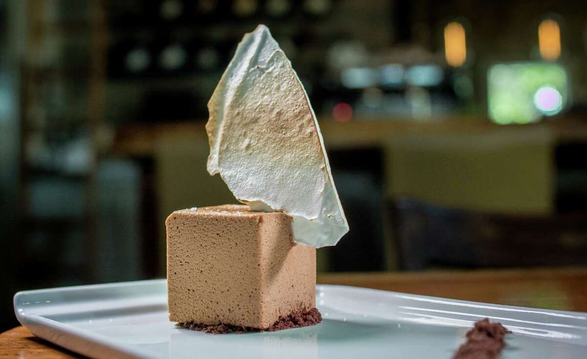A chocolate mousse brick called The Chocolate Bloc ($7). Desserts are a strength at Valette in Healdsburg.