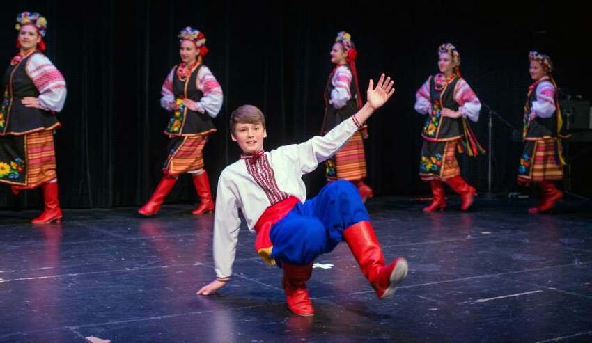 Young performers from the Zorepad Ukrainian Dance Ensemble and Capital District School of Ukrainian Studies rehearse for a Ukrainian opera to be performed with a full orchestra Friday, May 22 at the University of Albany's Main Theatre. (Photo courtesy of Irina Petrik)