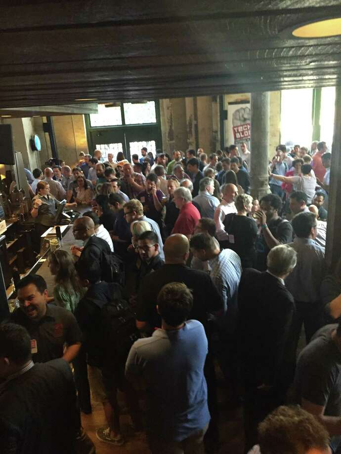 About 950 people RSVP'd for Tech Bloc's launch at Southerleigh Fine Food and Brewery at The Pearl. San Antonio's tech community has organized and has been vocal about making San Antonio more attractive to talented tech workers. Photo: Lynn Brezosky /San Antonio Expres /Lynn Brezosky /San Antonio Expres
