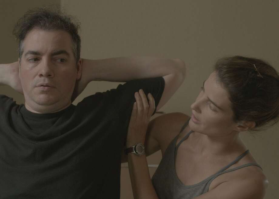 "Danny (Kevin Corrigan) is a multimillionaire who wants to get in shape and Kat (Cobie Smulders) is a personal trainer in Andrew Bujalski's ""Results."" Photo: Jessica Lutz, Magnolia Pictures"