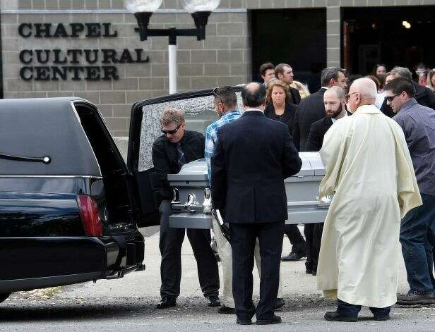 The casket of Los Angles Police Department shooting Brendon Glenn is moved from the Rensselaer Polytechnic Institute Cultural Center Wednesday afternoon May 20, 2015 after the funeral ceremony in Troy, N.Y. (Skip Dickstein/Times Union)