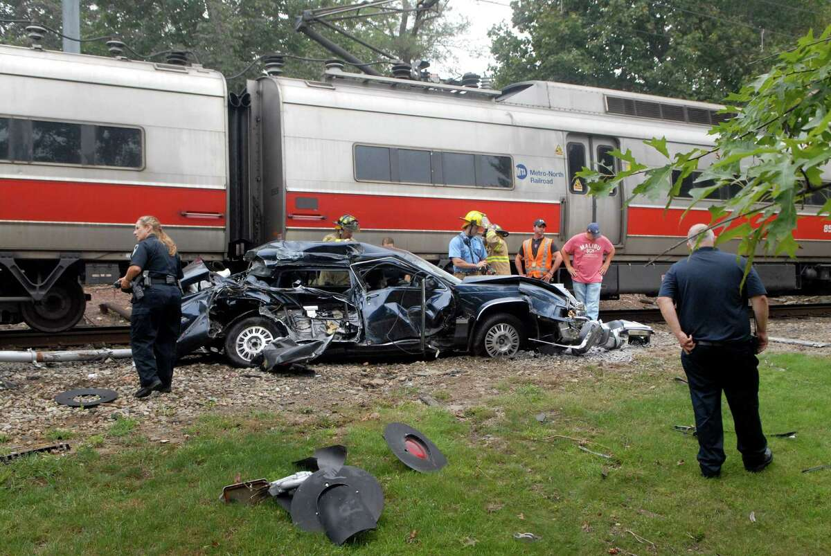 A Metro-North train hit a car at railroad crossing on Riverbend Drive off Hope St. in Stamford, Conn. on Tuesday September 27, 2011.