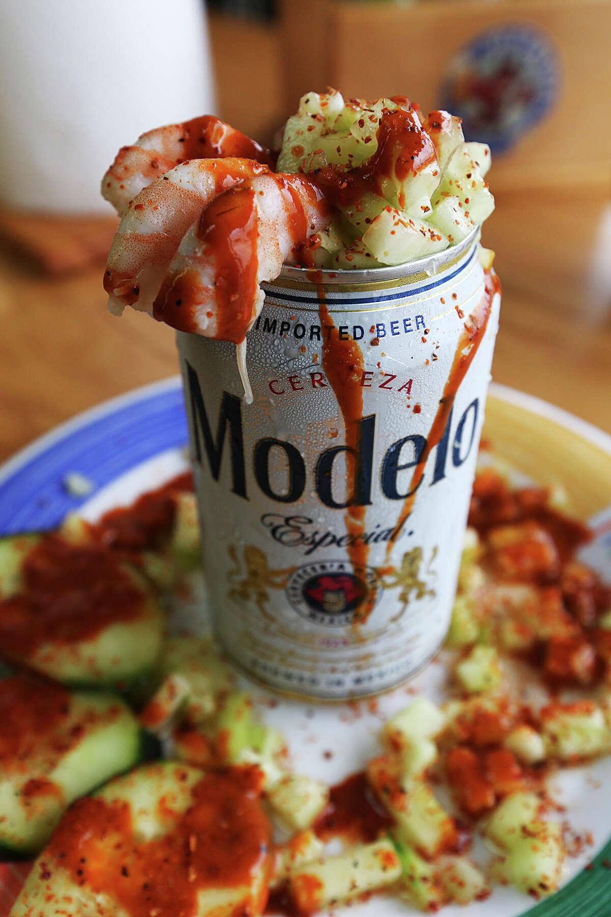 The cerveza preparada comes with shrimp, cucumbers and a hot sauce at Las Islas Marias Mexican seafood restaurant.