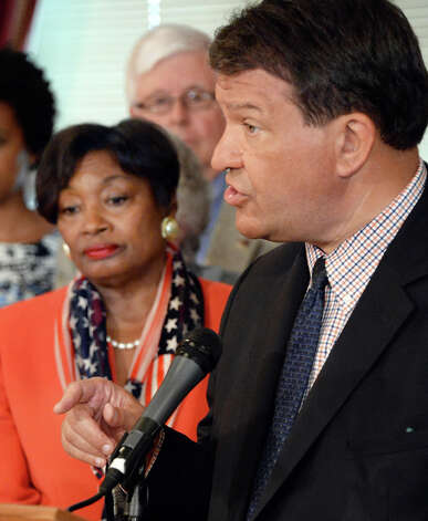 Senator George Latimer, right, speaks as Senate Democrats unveil an education legislative package at the Capitol Tuesday May 19, 2015 in Albany, NY. Democratic conference leader  Andrea Stewart-Cousins is at left. (John Carl D'Annibale / Times Union) Photo: John Carl D'Annibale, Albany Times Union / 00031904A