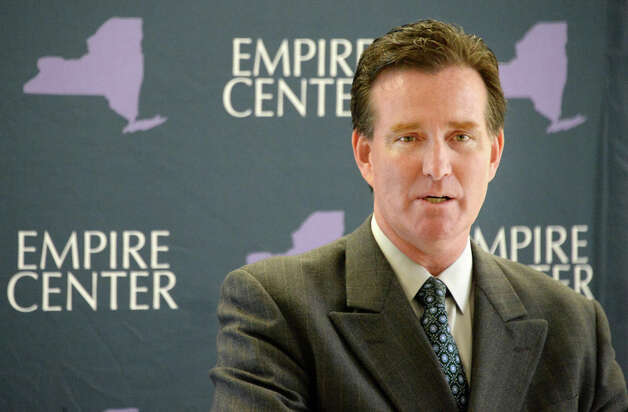 Senate Majority Leader John Flanagan speaks at a press conference for making tax cap permanent Tuesday May 19, 2015 in Albany, NY. (John Carl D'Annibale / Times Union) Photo: John Carl D'Annibale, Albany Times Union / 00031900A