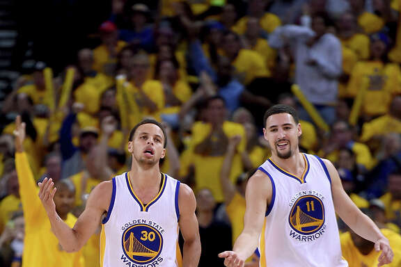 Stephen Curry (left) and Klay Thompson are the first All-NBA Warriors teammates since 1991-92.