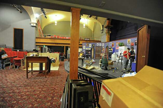 "Volunteers work on the set of the play ""The Drowsy Chaperone"" at the Schenectady Light Opera Company in Schenectady, NY on Monday, February 21, 2011.  Volunteers have renovated the church, on Franklin Street, to be the permanent home of the  Schenectady Light Opera Company.  (Lori Van Buren / Times Union) ORG XMIT: MER2015052013242814 Photo: Lori Van Buren / 00012154A"