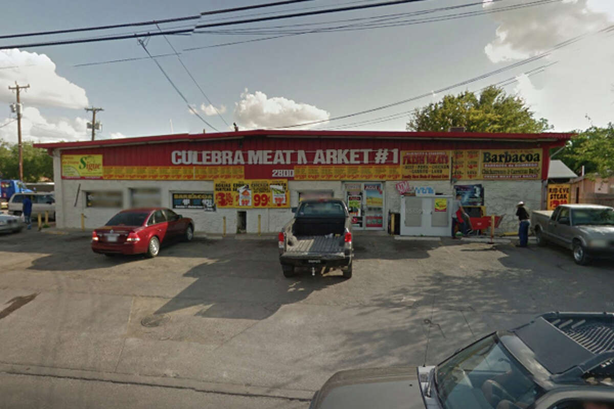 Culebra Meat Market #1: 2800 Culebra Road, San Antonio, TX 78228  Date: 11/28/2017 Score: 59 Highlights: Inspector observed blood, food debris on deli cases, including sliding glass door and door slides; food not held at correct temperature (carnitas); employees seen not washing hands before putting on gloves; poisonous/toxic chemicals seen stored near food area, must be approved for commercial use; repair leaks at handwashing sinks, prep sinks; no Certified Food Manager present at time of inspection; food packaged at establishment must be properly labeled; establishment must remove dead or trapped birds, insects, rodents, other pests; employee food and drinks discovered in various areas; container used to cook barbacoa is rusting; cardboard boxes seen being used as storage for chicarrons; food particles found inside ice machine, as well as unfilled ice bag; tongs used for meats must be cleaned properly