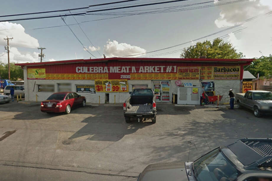 Culebra Meat Market #1: 2800 Culebra Road, San Antonio, TX 78228Date: 11/28/2017 Score: 59Highlights: Inspector observed blood, food debris on deli cases, including sliding glass door and door slides; food not held at correct temperature (carnitas); employees seen not washing hands before putting on gloves; poisonous/toxic chemicals seen stored near food area, must be approved for commercial use; repair leaks at handwashing sinks, prep sinks; no Certified Food Manager present at time of inspection; food packaged at establishment must be properly labeled; establishment must remove dead or trapped birds, insects, rodents, other pests; employee food and drinks discovered in various areas; container used to cook barbacoa is rusting; cardboard boxes seen being used as storage for chicarrons; food particles found inside ice machine, as well as unfilled ice bag; tongs used for meats must be cleaned properly Photo: Google Street View/Maps