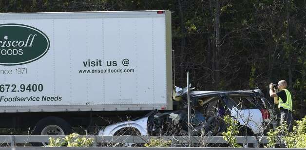 State Police investigate at the site of a fatal accident on the Northway southbound in Colonie on May 21, 2015. (Skip Dickstein/Times Union)