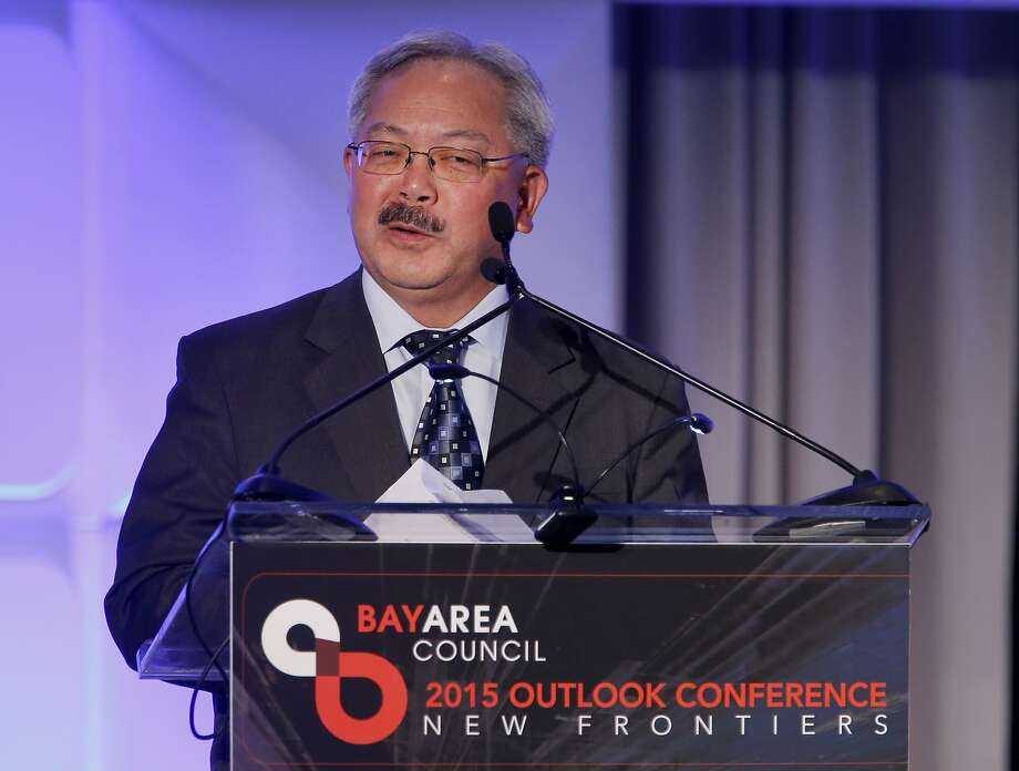 San Francisco Mayor Ed Lee recognized the accomplishments of Governor Brown as he introduced him Thursday May 21, 2015. California Governor Jerry Brown was the first speaker at the Bay Area Council meeting discussing regional and statewide economic issues at the Ritz-Carlton hotel in San Francisco, Calif. Photo: Brant Ward, The Chronicle