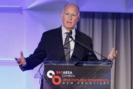Governor Brown spoke to the crowd about his fiscal restraint Thursday May 21, 2015. California Governor Jerry Brown was the first speaker at the Bay Area Council meeting discussing regional and statewide economic issues at the Ritz-Carlton hotel in San Francisco, Calif.