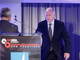 Governor Jerry Brown approached the podium after being introduced by Mayor Ed Lee Thursday May 21, 2015. California Governor Jerry Brown was the first speaker at the Bay Area Council meeting discussing regional and statewide economic issues at the Ritz-Carlton hotel in San Francisco, Calif.