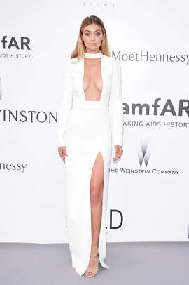 Model Gigi Hadid attends amfAR's 22nd Cinema Against AIDS Gala, Presented By Bold Films And Harry Winston at Hotel du Cap-Eden-Roc on May 21, 2015 in Cap d'Antibes, France.  (Photo by Venturelli/WireImage)