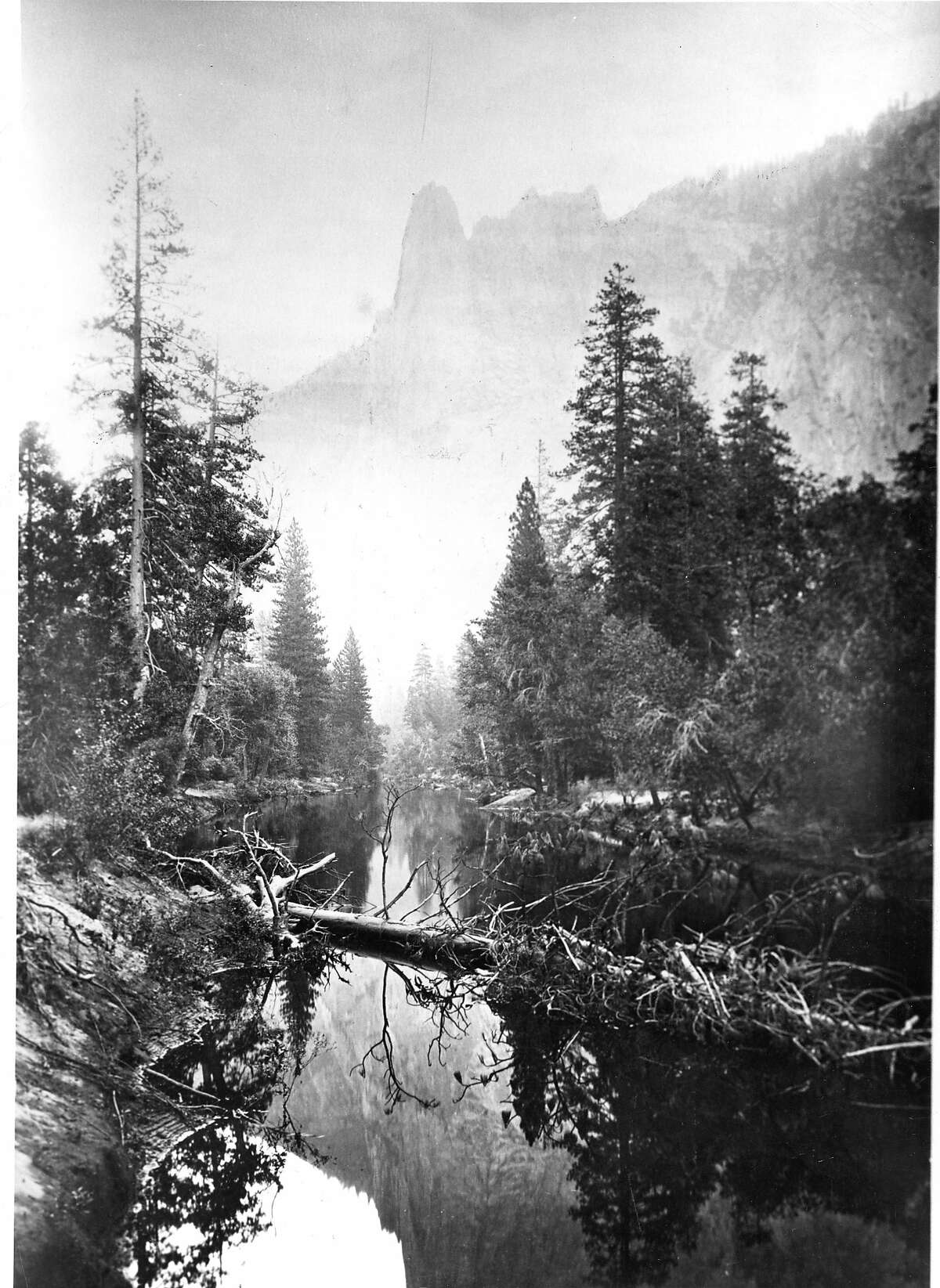 The Sentinel, in Yosemite National Park across the Merced River Photo by Carleton Watkins, approx,. date 1861