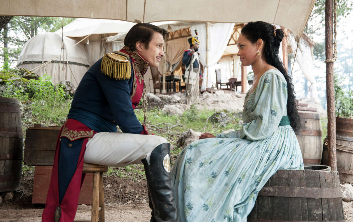 Gen. Antonio Lopez de Santa Anna (Olivier Martinez), who led the Mexican troops, and Emily West (Cynthia Addai-Robinson), a free woman of color.