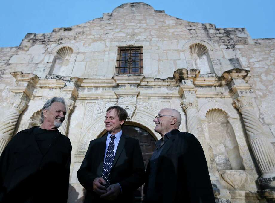 """Kris Kristofferson (from left), Bill Paxton, and Phil Collins joke after the Texas Honors event Monday May 18, 2015 at the Alamo. The event served as a preview for History channel's epic series """"Texas Rising"""" that premieres Memorial Day Monday May 25, 2015 at 9 PM ET on History and as the launch of a fundraising campaign for the Alamo Endowment. The endowment is a nonprofit entity chaired by Texas Land Commissioner George P. Bush that raises money for the preservation and improvement of the Alamo. Photo: Edward A. Ornelas, Staff / San Antonio Express-News / © 2015 San Antonio Express-News"""