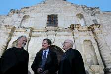 """Kris Kristofferson (from left), Bill Paxton, and Phil Collins joke after the Texas Honors event Monday May 18, 2015 at the Alamo. The event served as a preview for History channel's epic series """"Texas Rising"""" that premieres Memorial Day Monday May 25, 2015 at 9 PM ET on History and as the launch of a fundraising campaign for the Alamo Endowment. The endowment is a nonprofit entity chaired by Texas Land Commissioner George P. Bush that raises money for the preservation and improvement of the Alamo."""