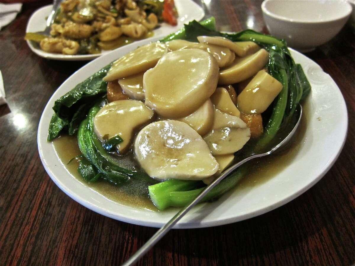 Steamed Jade Tofu with King Mushrooms at Confucius Seafood.