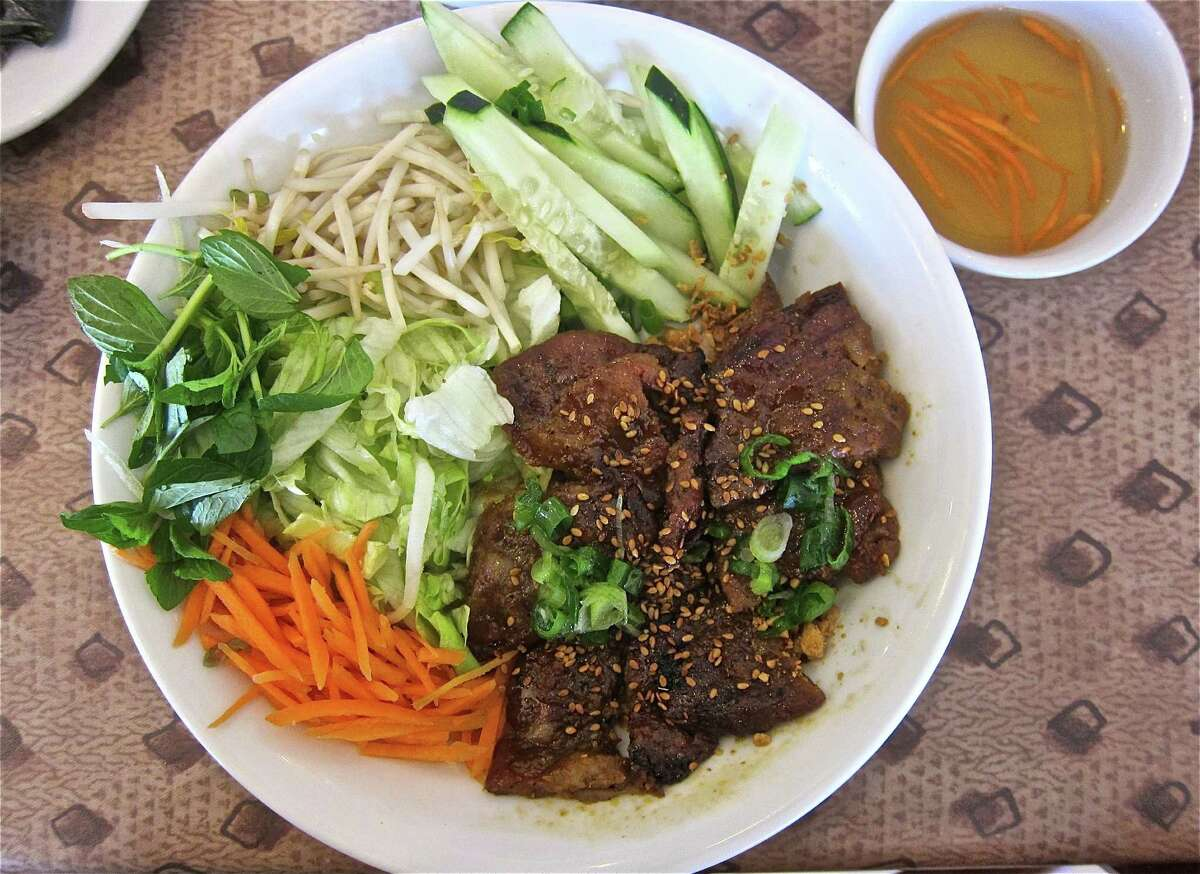 Nam GiaoRanking: 35 Cuisine: VietnameseEntree price: $Where: 6938 Wilcrest, #CPhone: 281-568-8666 Read Alison Cook's review of Nam Giao Pictured above: Grilled pork salad with thick rice noodles