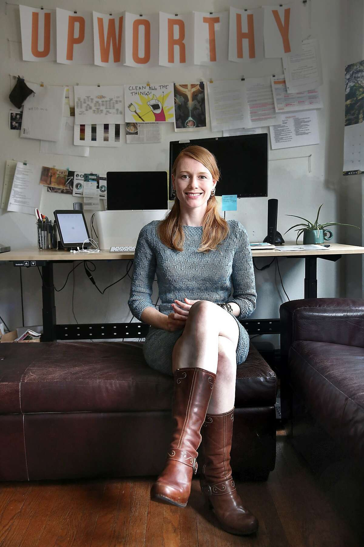 Upworthy's new female engineering lead Rachel Fenn supports women in the tech industry in San Francisco, California, on Wednesday, May 20, 2015.
